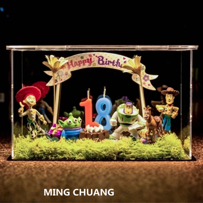 Toy Story Woody Buzz Lightyear Mr. Potato Head Moss microlandscape With LED Light Plastic Action Figure Toy Christmas Present single sale toy iv story figure buzz lightyear woody aliens jessie building blocks set models toys sy172 jr1712