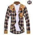 2015 novos chegada dos homens da manta do vintage manga comprida emenda patch camisas para os homens de alta qualidade camisas de algodão frete grátis MCL090