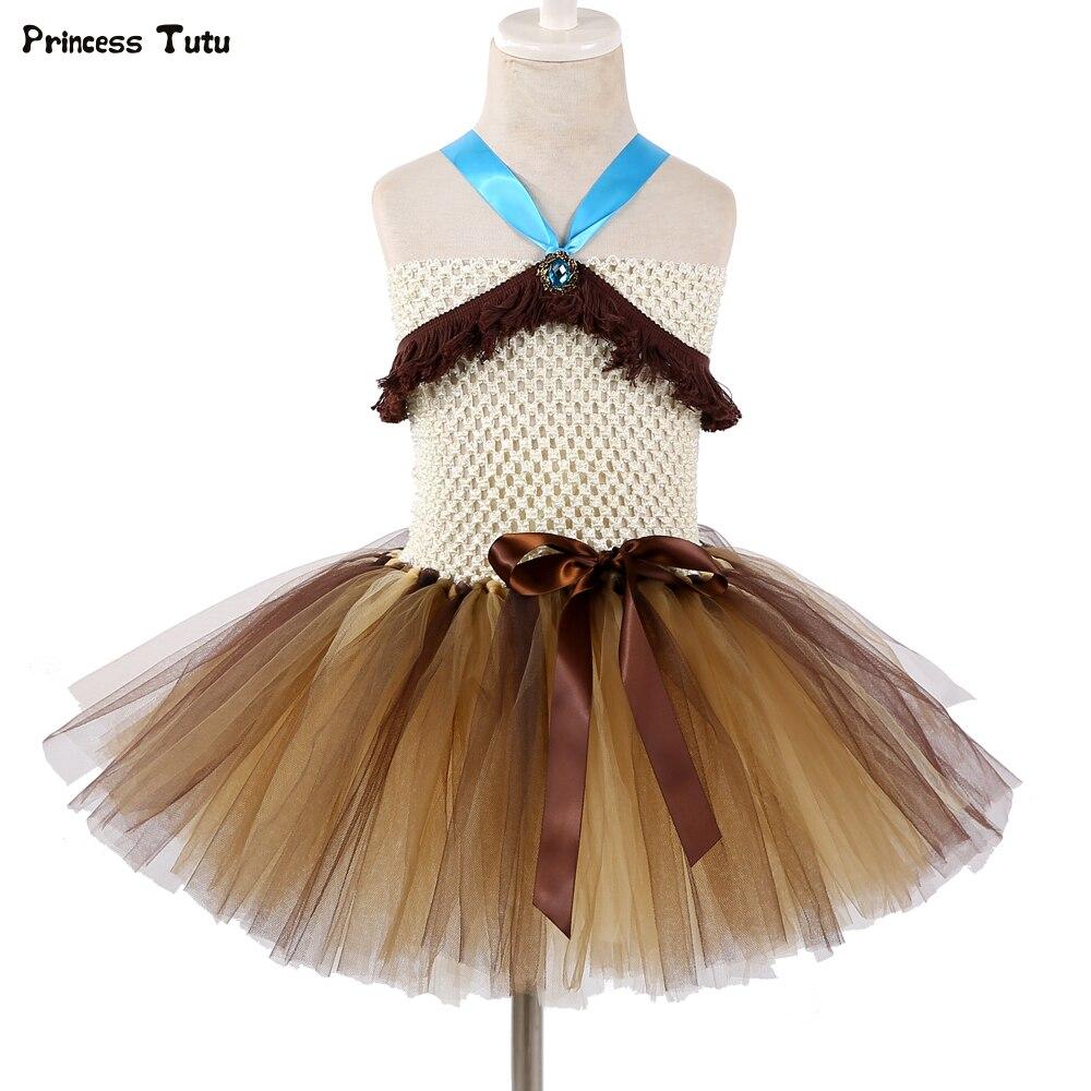 9fdd25023ab Покахонтас Платья принцессы с балетной пачкой коренной американский индеец  праздничное платье для девочки платье для Для