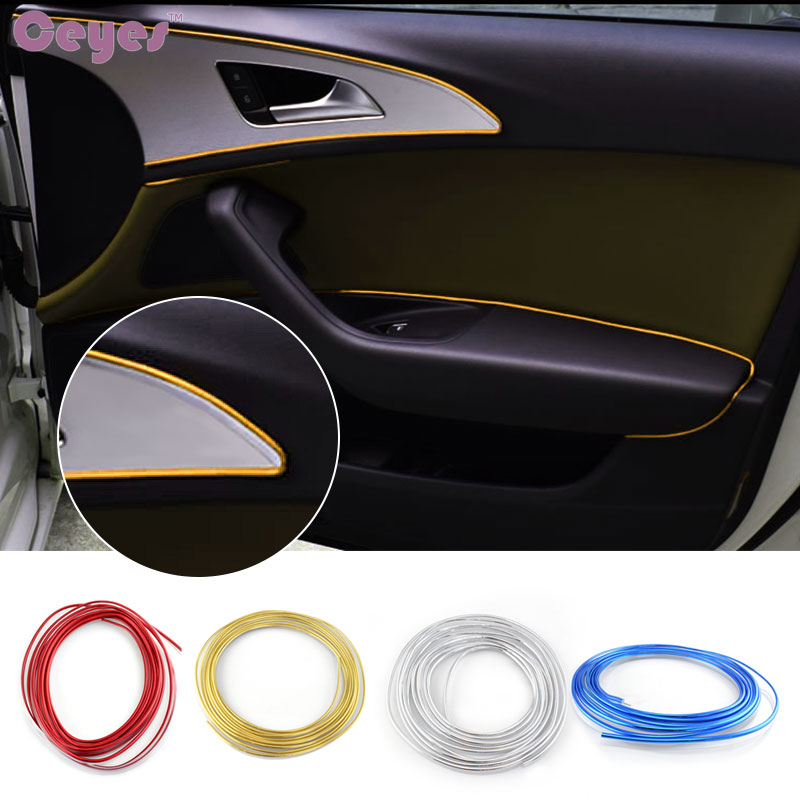 Ceyes Car-Styling 10/15M Car Interior Moulding Strips Decoration Steering-Wheel Flexible In Door Dashboard Air Vent Accessories