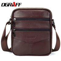 OGRAFF Men Messenger Bags Luxury Genuine Leather Men Bag Designer High Quality Shoulder Bag Casual Zipper