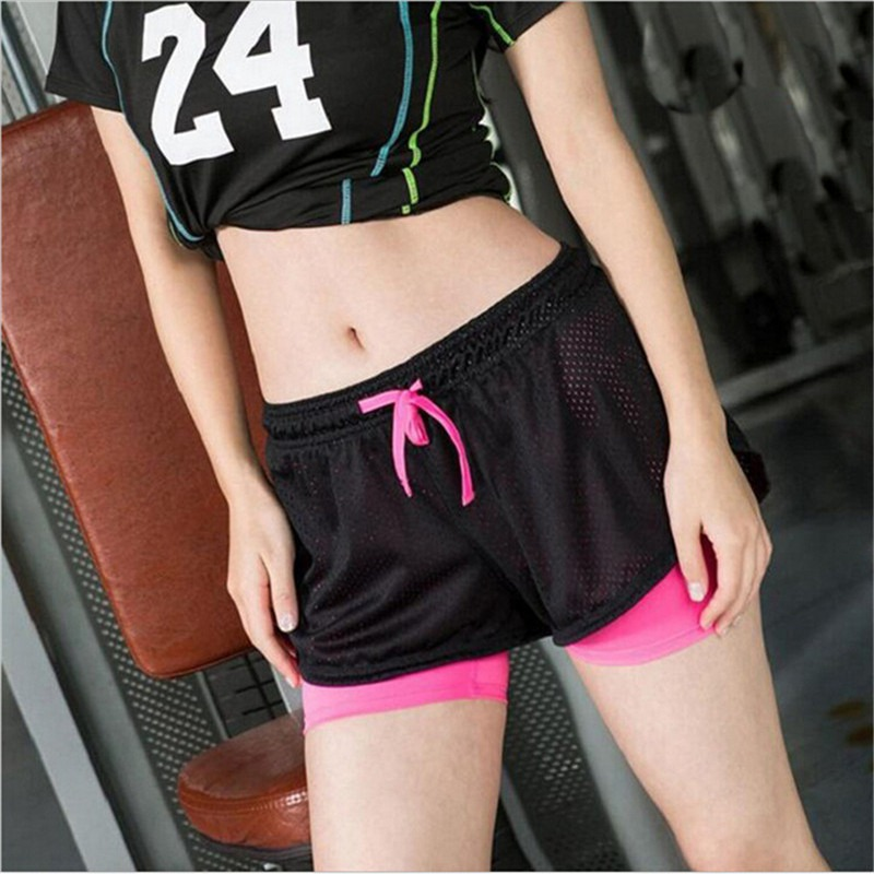 Summer Women Cotton Mesh Yoga Shorts Workout Fitness Two