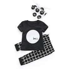 fc09964567982 Newborn Toddler Infant Baby Boys Girls Print Tops O-Neck T Shirt Pants 3Pcs  Outfits