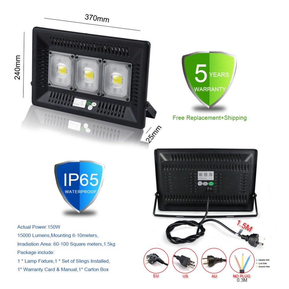 SJLA Garantie 5 Année Étanche IP65 Intérieur Mur Extérieur Jardin Spot Refletor Extérieur Foco Lampe 50 W 100 W Plug led projecteur - 4