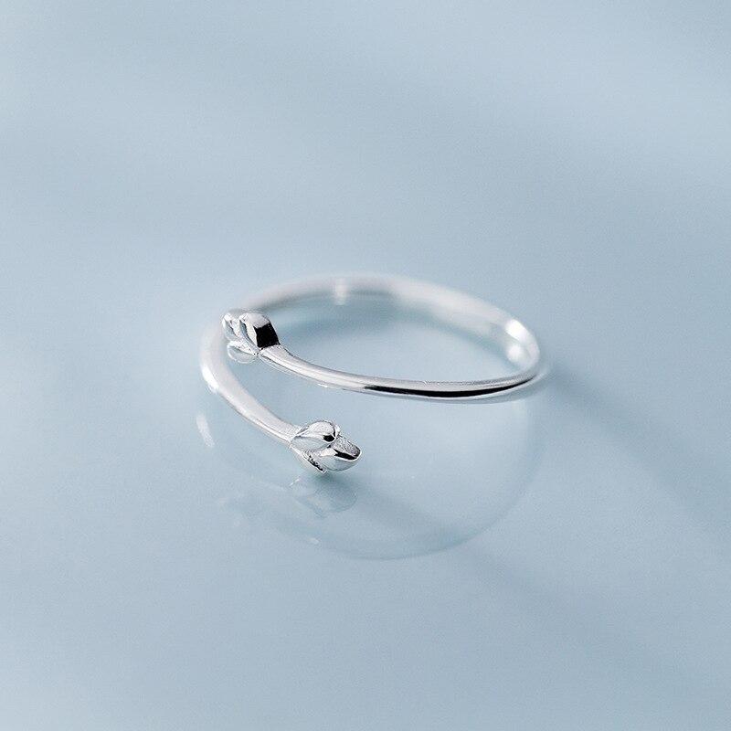 100% стерлингового серебра 925 Нежный Три ветка с листьями спираль Открытые Кольца для женщин Laydy Girl Регулируемый ювелирный подарок - 2