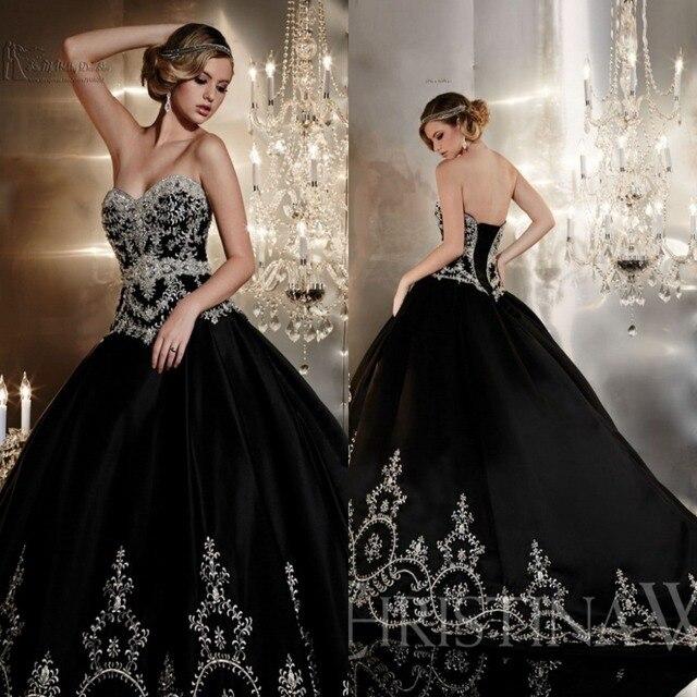 Plata de moda bordado de la boda Vestidos 2016 negro Gothic Shining ...