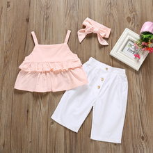 Kid Baby Girl Ruffle Sling Long Pants 3PCS Outfit Clothes Summer Newborn Off Shoulder Sets Newly Top Short Skirts