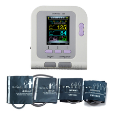 FREE SHIPPING CE&FDA CONTECO8A Electronic Digital Blood SpO2 Pressure Monitor LCD Screen with 4 Cuffs