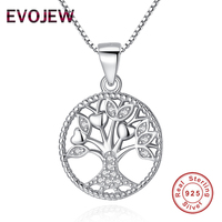 EVOJEW 100 Real 925 Sterling Silver Clear CZ Family Tree Pendant Necklaces For Women Mother Jewelry