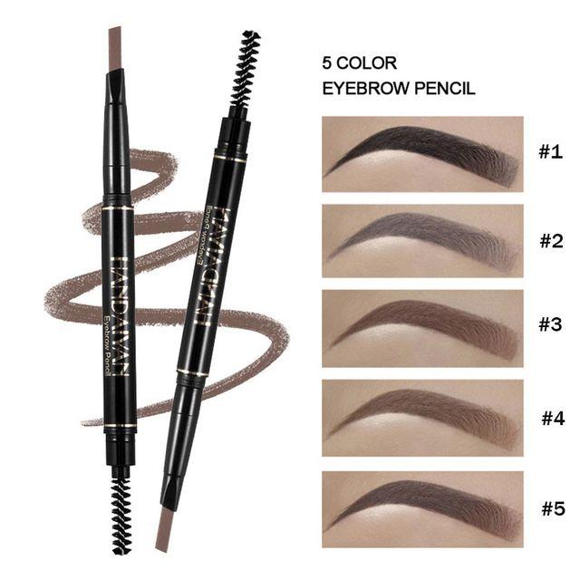 HANDAIYAN 5 Color Waterproof Eyebrow Pen Microblading Eyebrow Pen Crayon Sourcils Automatically Rotate Double Head Eyebrow Pen 2
