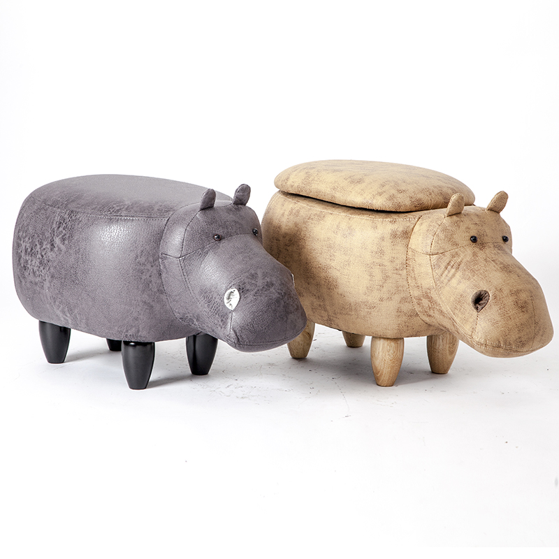 Hippo Shaped Animal Ottoman Storage Footrest Stool Upholstered Padded Seat Hippo Stool Pouf Adorable Bench as Kids Gift,Toy Box
