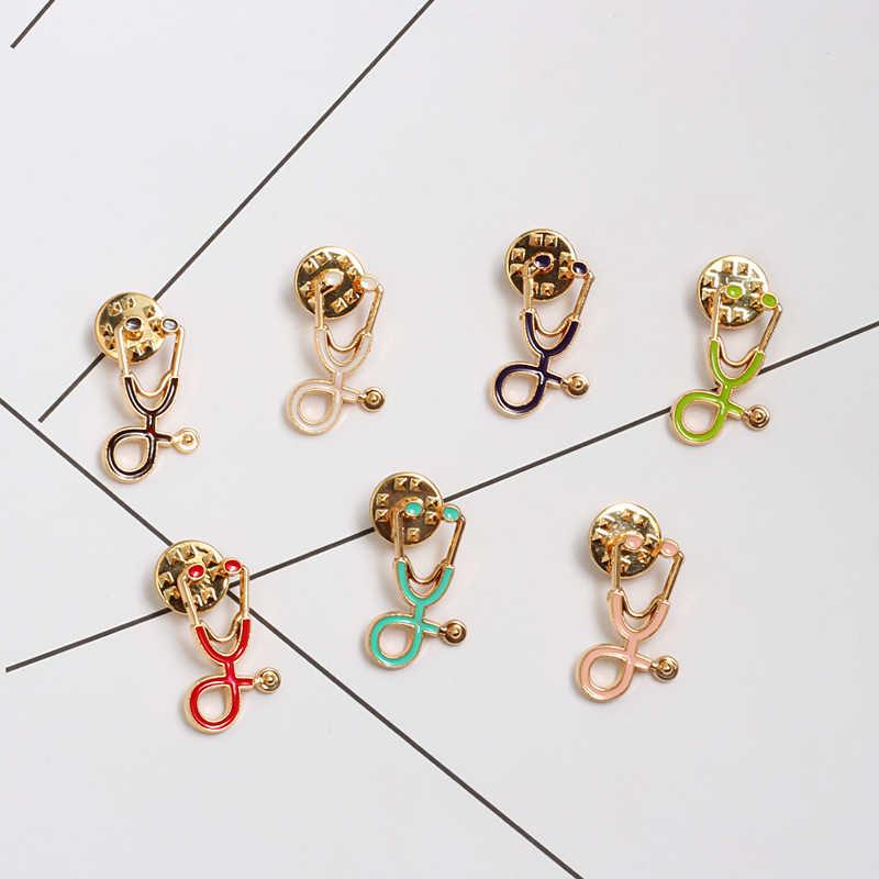 18 สี Mini หูฟังแพทย์เข็มกลัดสีสัน Enamel Pin Gold Sliver Lapel Pins ป้ายสำหรับพยาบาลเครื่องประดับของขวัญ