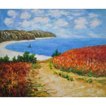 High quality Claude Monet paintings for sale Meadow Road to Pourville Canvas art hand-painted