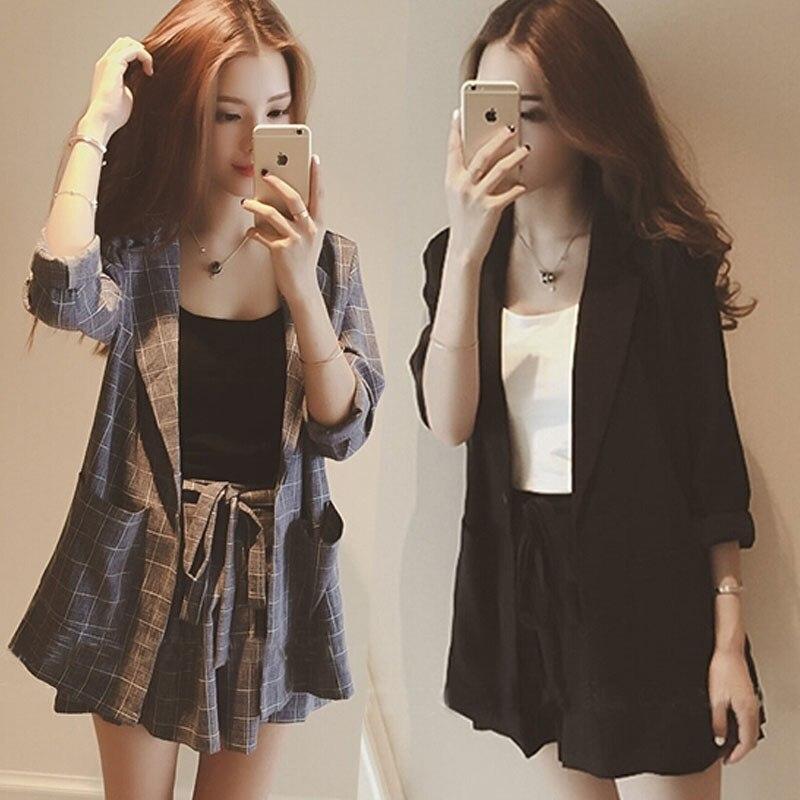Womens Two Piece Sets Fashion Plaid Blazers + Plus Size Drawstring Shorts Women Office Suit Set 2019 Summer Short Sets Female