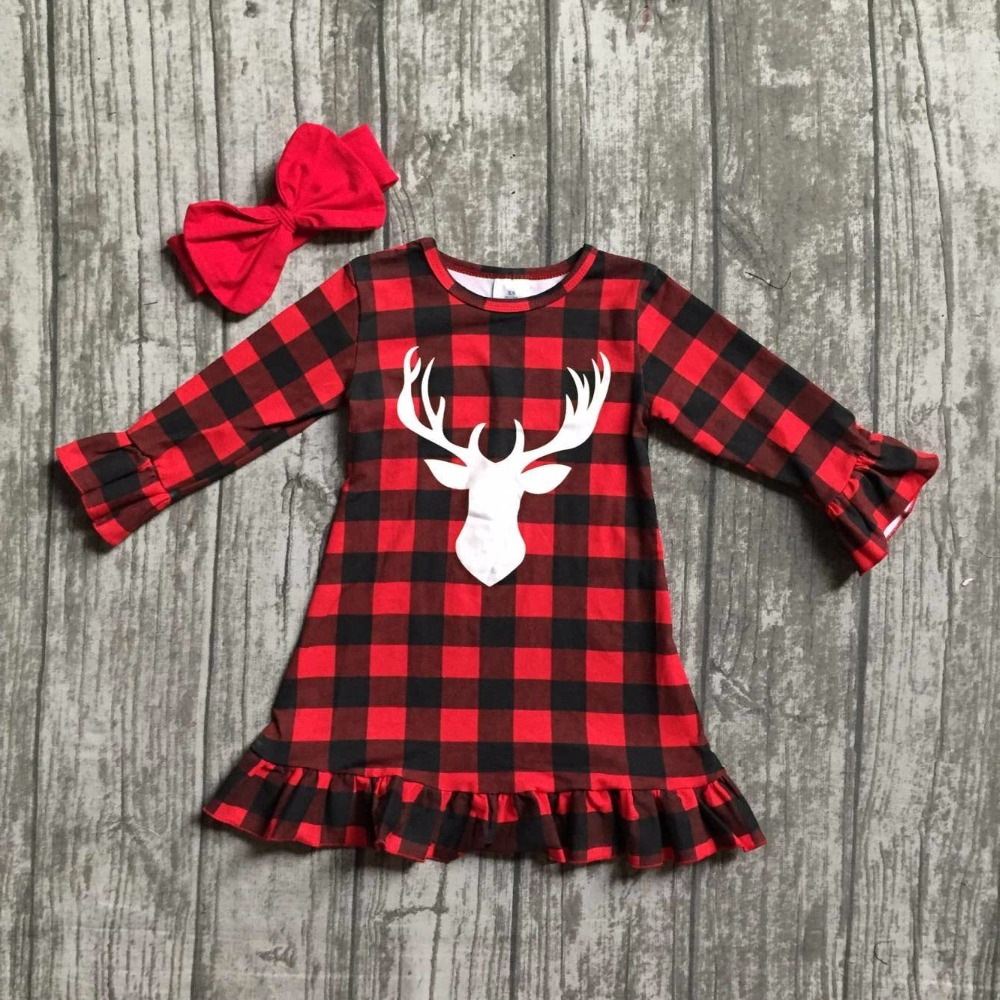 купить baby girls Christmas dress girls Christmas reindeer dress girls Christmas party dress long sleeve with matching headband недорого