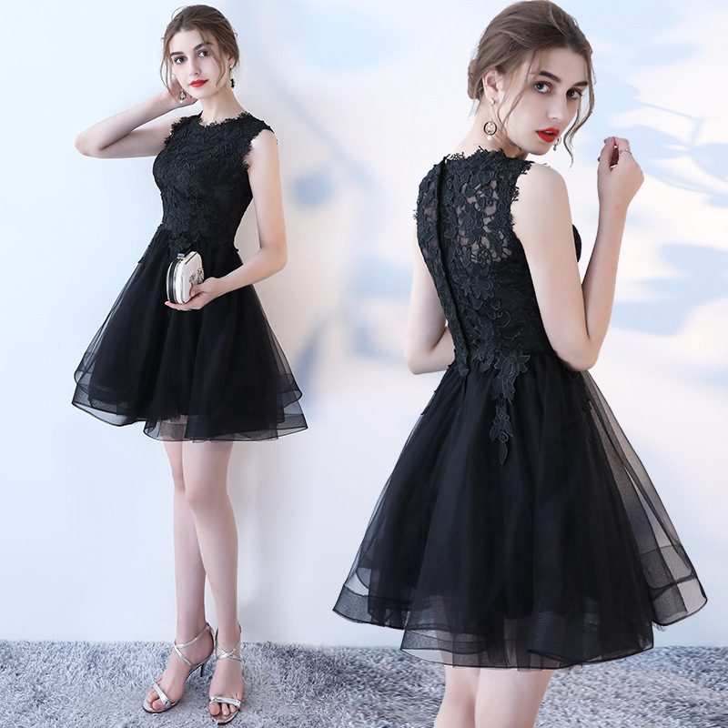 Simple New Black Scoop Neck Appliques Lace Short   Bridesmaid     Dresses   Sleeveless Mini A-line Wedding Party Gowns Robe De Soiree