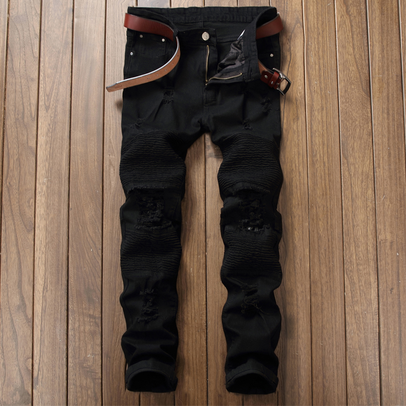 Autumn and Winter Fashion Wave Male High Street Fold Hole Jeans Machine Crash Hole Stretch Self - Cultivation JEANS