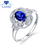 Natural Blue Tanzanite Promised Rings Solid 14k White Gold Stunning Diamond Engagement Jewelry for Women Christmas Gift