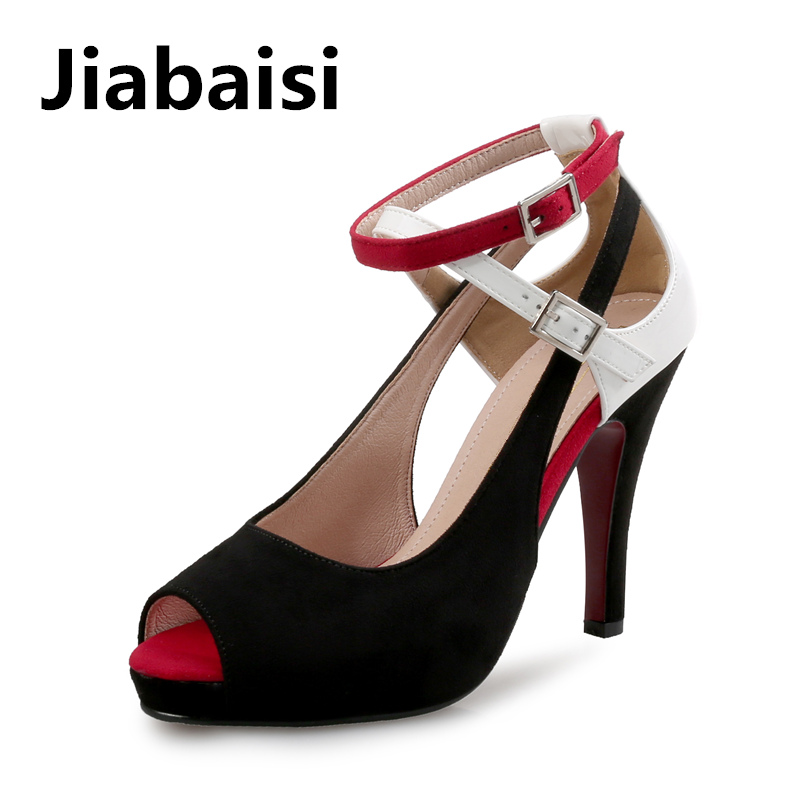 Jiabaisi shoes Women sandal Platform Peep toe Heels Suede covers spike heel sandals Large Size Party works Classic women shoes party suede and stiletto heel design peep toe shoes for women