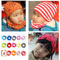 2016 spring and winter new cotton children's cartoon scarf burst models of child baby saliva scarves collars  Solid striped hat