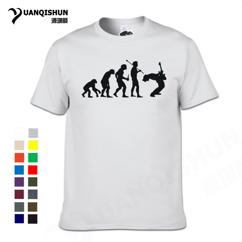 Funny Guitarist T Shirt Evolution Of a Guitarist Music Rock Guitar Musician Band Metal Mens T-shirt 16 Colors Unisex Cool Tees image