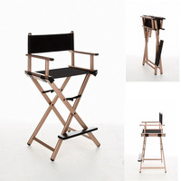 Lightweight and Portable Director Chair Aluminum Frame with Black Canvas Outdoor Furniture Folding Chair Indoor Makeup Chair