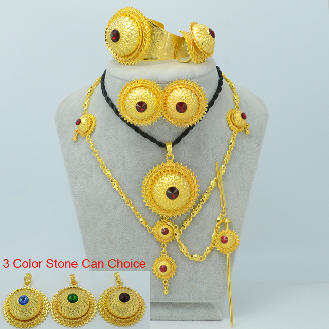 3 Color Stone Can Choice/Ethiopian Gold Jewelry sets W/Hair Piece Forehead Chain Eritrea Wedding sets Habesha Jewelry #001117