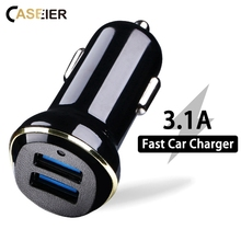CASEIER 3.1A Fast USB Car Charger For iPhone X Xr Xs Max Dual Port USB Charger For IOS Android Mobile Phone Tablet Fast Charging(China)