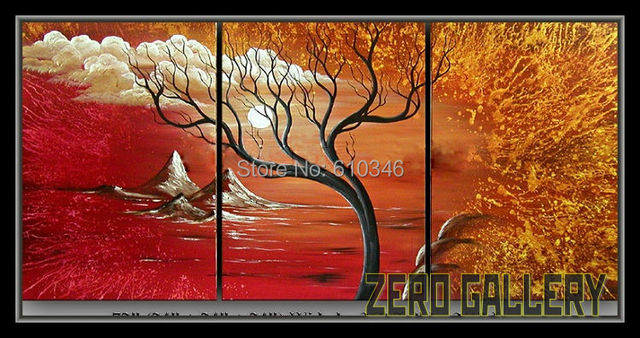 cheap red golden handpainted Modern Oil Painting Tree sun Landscape Mountain Sunset pop art canvas print paint by number 30082