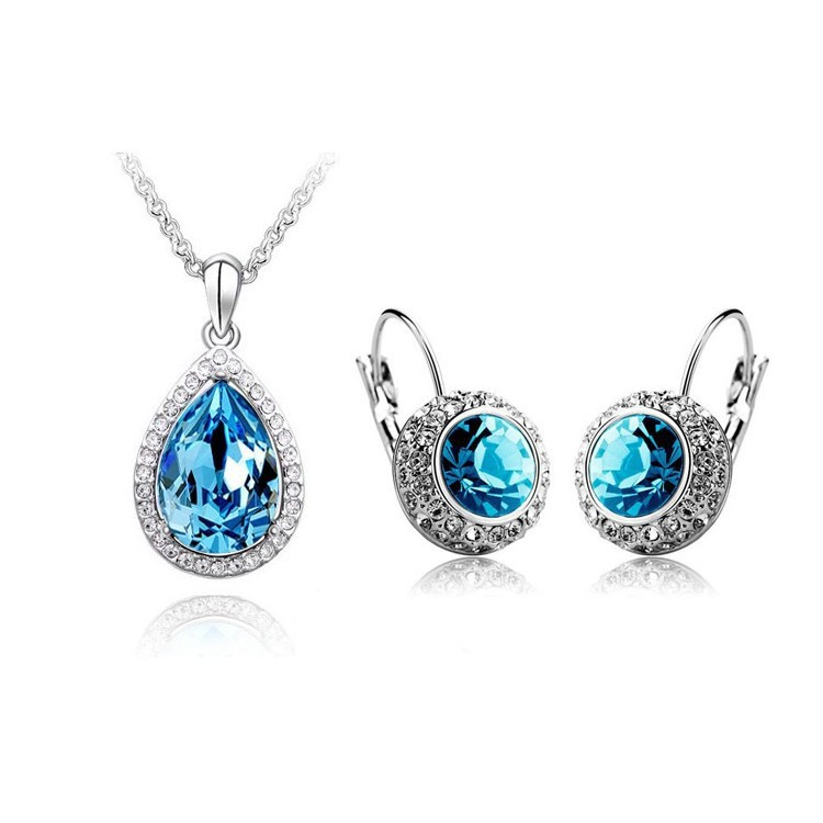 WeiJiang Gold Color Crystal design Round Moon river Crystal Jewelry Sets Wholesales Fashion Jewelry for women ...