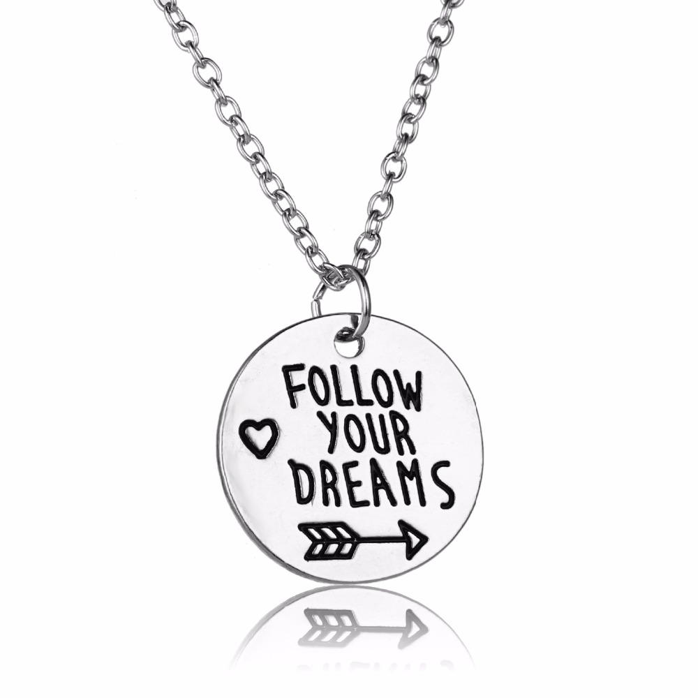 Hand Stamped Heart Arrow Follow Your Dreams Pendant Necklace Inspired Women Men BFF Birthday Xmas Party Gifts Charm Jewelry Hot