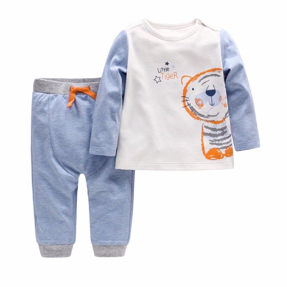 Vlinder 2018 2 pcs de tigre bebê menino roupas de manga regulares outono e inverno masculino bebê cottonT-laço camisa com calças menino terno