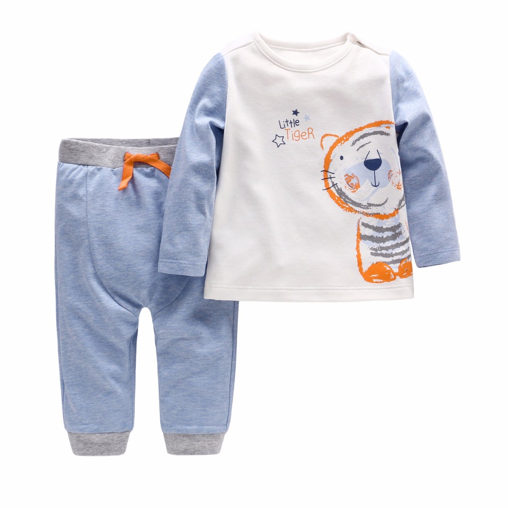 Vlinder 2018 2 pcs of tiger baby boy clothes regular sleeve autumn and winter male baby cottonT-shirt tie with pants boy suit