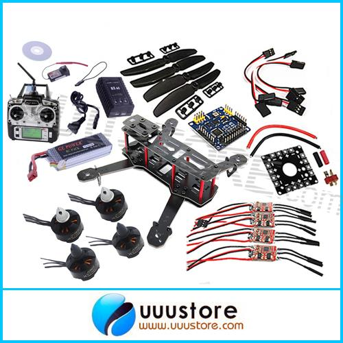 Mini QAV250 FPV Quadcopter RTF 3K CF Frame 2280kv Motor 12A Esc Flight Control 4x 5030 Prop Raido Charger Battery For QAV250