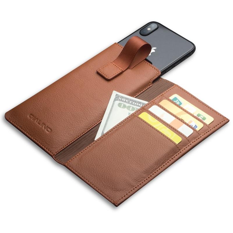Qialino caso saco de couro para o iphone x capa de couro genuíno para o iphone x carteira bolsa slot para cartão de luxo caso saco do telefone 5.8 polegada