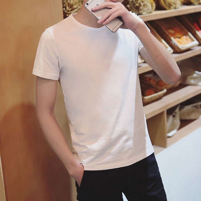 Trendy Men T Shirt Casual Loose Short Sleeve Slim Men's Basic Tops Tees Summer Stretch Solid T-shirt Male Clothing White 8J0299 4