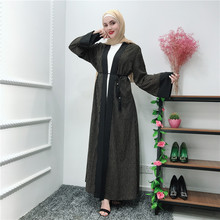 Striped Cardigan Dress Big Bell Sleeve Ladies Long 2019 New Muslim Turkish Lslamic