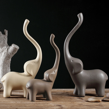 Minimalist ceramic Long nose elephant statue home decor crafts room decoration handicraft porcelain animal figurine
