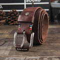 Fashion vintage male hairline genuine cowhide fashion leather belt pin buckle belt retro personalized carved designer belt