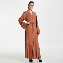 2019 Front open cardigan abaya dress women beaded dubai turkish plus size  pakistan kaftan dress Islamic 98432e89e8da