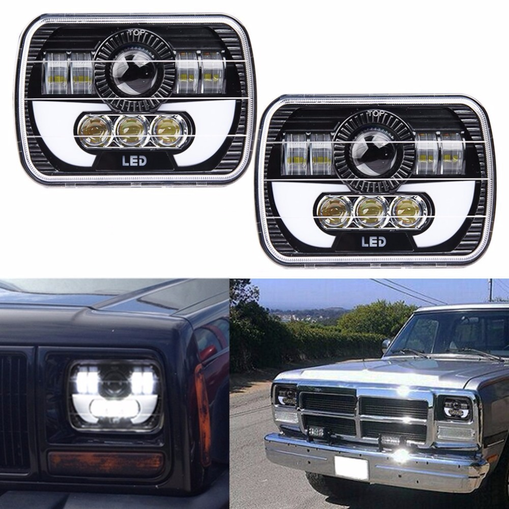 Black Projector 7x6 LED Headlight HID Light Bulbs Beam Headlamp DRL for Jeep Cherokee XJ Truck 7x6 5x7 120w LED Headlights
