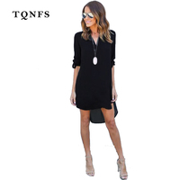 TQNFS 2017 Fshion Women Deep V Neck Chiffon Dress Long Sleeve Casual Summer Tunic Shirt Dress