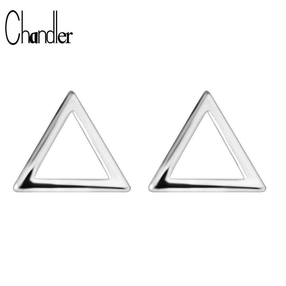 597ef73bf 925 de plata esterlina triángulo hueco pendientes para las mujeres niños  amistad Bijoux geométrica Simple Homme amor Bijoux