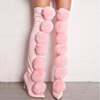 2018 Fashion Newest Pink Fur Pom Pom Shoes Stretch Fabric Long Over Knee High Women Boots Slip on High Heels Bobbles Pointy Toe