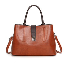 High Quality Women Leather Handbags 2019 New Elegant Shoulder Bag Oil Wax PU Leather Tote Bags for Women Crossbody