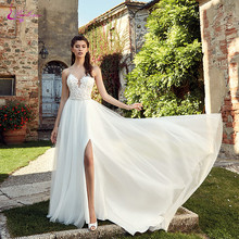 Waulizane Simple White Puffy Tulle A Line Wedding Dresses Scalloped Neckline Side Zipper Vestidos de novia