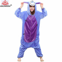 BALIWEISA New Women Pajamas Animal Stitch Unicorn Pajamas Warm Flannel Sleepwear Totoro Pikachu Panda Giraffe Adult