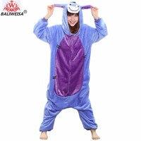 BALIWEISA New Women Pajamas Animal Stitch Unicorn Pajamas Warm Flannel Sleepwear Totoro Pikachu Panda Giraffe Adult