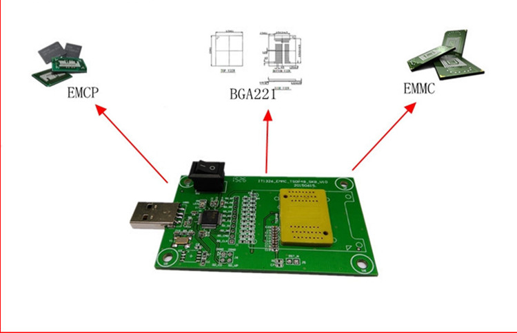 EMMC153 169 EMCP162 186 EMCP221 serie chip steckdose tester programmer reader USB port daten recovery elektronische diy kit telefon werkzeug - 2