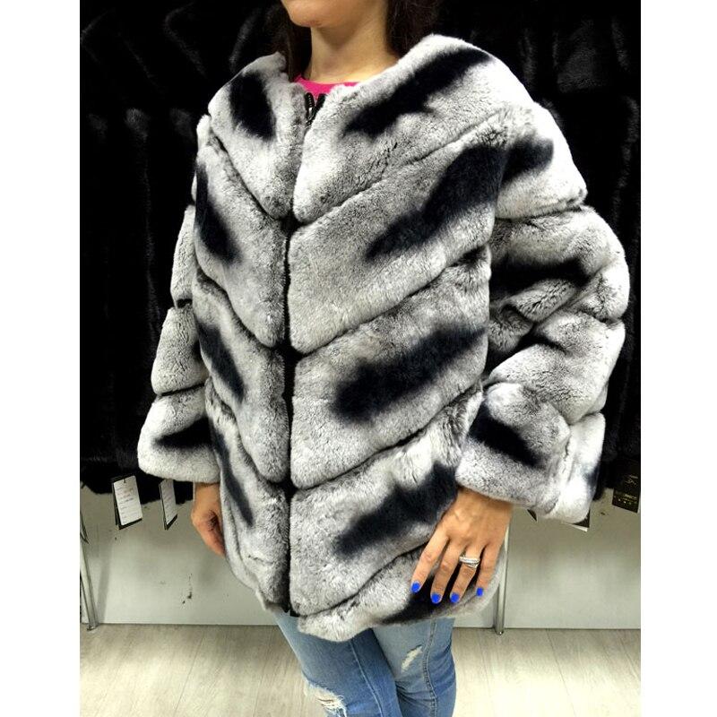 Manteau Picture D'hiver Chinchilla Mode Femmes Naturel Pelt Fourrure 050 O cou Lapin Nouvelle De Réel As Outwear 2018 Complet Veste Chaud Rex Rb BOgnq